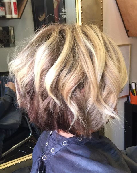 Blonde short hair balayage