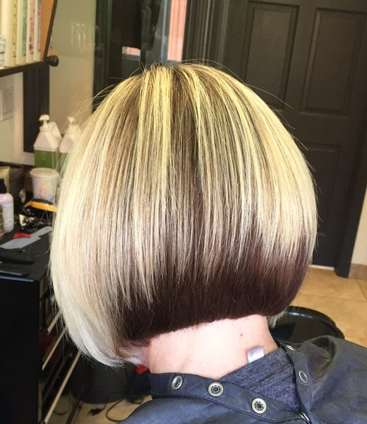 Blonde brown blunt short haircut